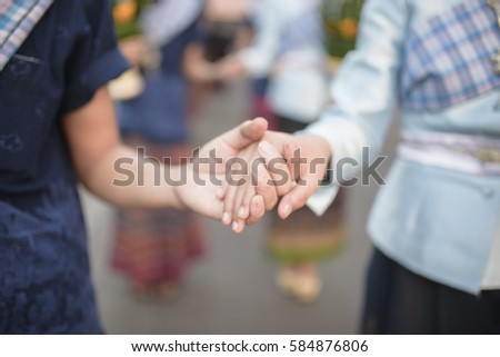 Holding hand,Together Joining Concept