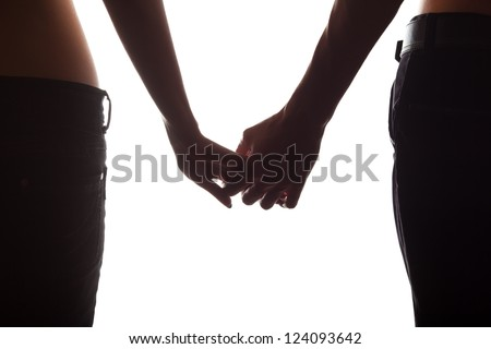Holding hands couple isolated on white background - stock photo
