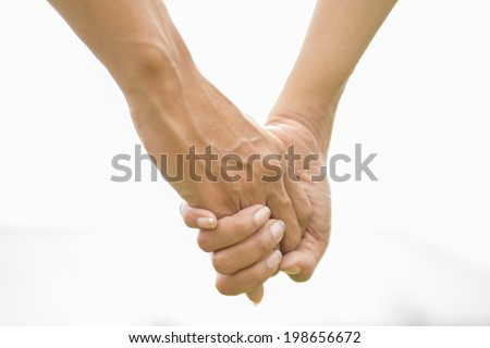 holding hands isolated - stock photo