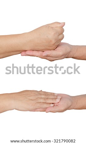 holding hands on white background - stock photo