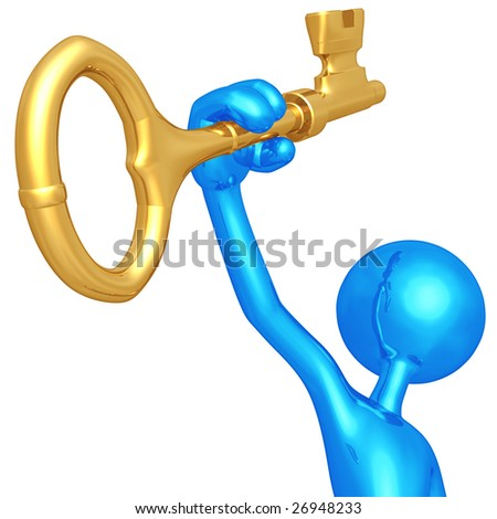 holding in hand a gold key - stock photo