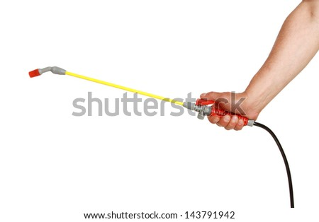 Holding in hand pressure Garden Pump on White Background - stock photo