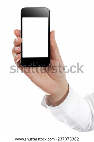 Holding Mobile Smart Phone In Female Hand - stock photo