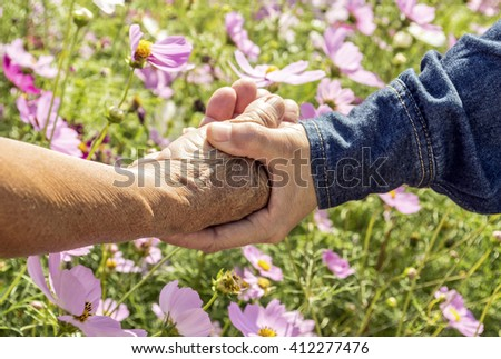holding old hand with flower field - stock photo