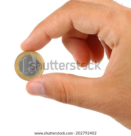 holding one euro coin isolated on white background