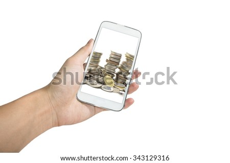 Holding smart phone take a photo of Coin pile on white background, Vertical - stock photo