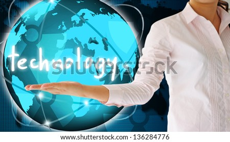 holding technology in hand  , creative concept - stock photo