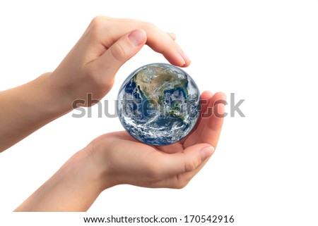 Holding the Earth - Elements of this image furnished by NASA - stock photo