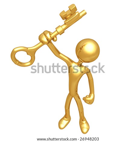 Holding The Gold Key - stock photo