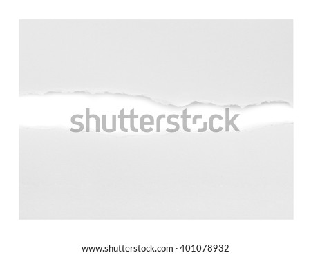 Hole and Torn paper, isolated on white background. - stock photo