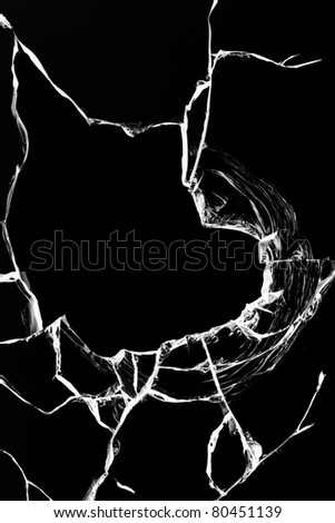 Hole  glass  broken  black - stock photo