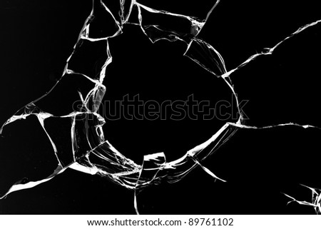 Hole  glass  shot black - stock photo