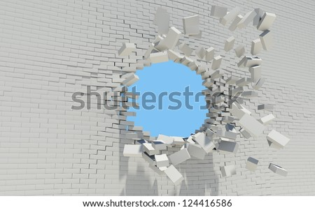 Hole in a brick wall. Sky in the background - stock photo