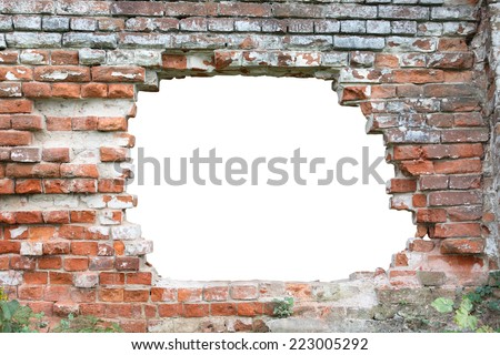 Hole in old brick wall. Hole isolated with clipping path for your text or images - stock photo
