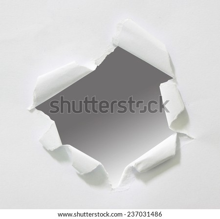 hole in paper, copy space for advertising message