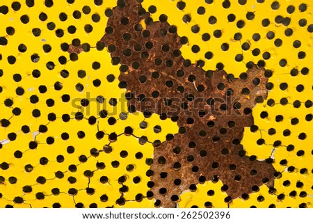 Hole in the metal - stock photo