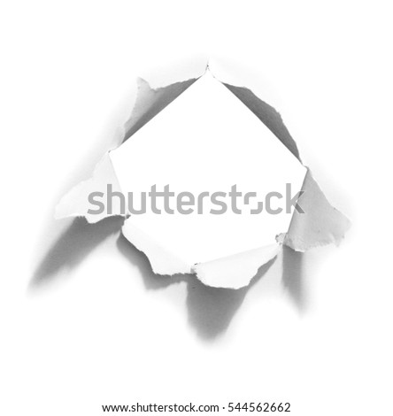 Hole in the paper on white background with clipping path.