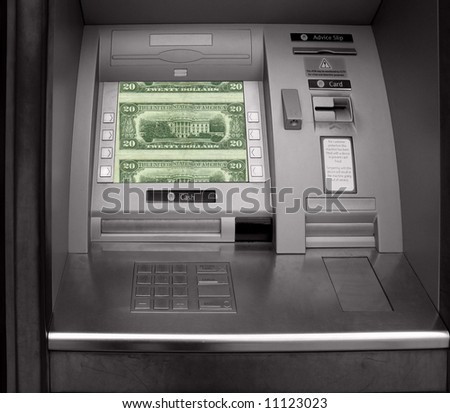 Hole in the wall cash machine on a night - stock photo