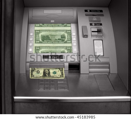 Hole in the wall, cash machine with dollars - stock photo