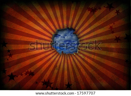 Hole in wall Grunge Circus - stock photo