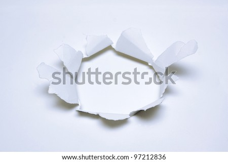 Hole on paper background