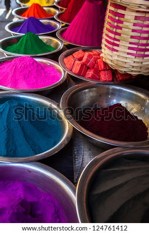 holi colors at Mysore market, India - stock photo