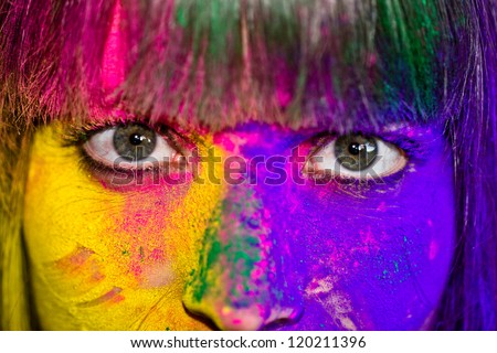 Holi Eyes - stock photo