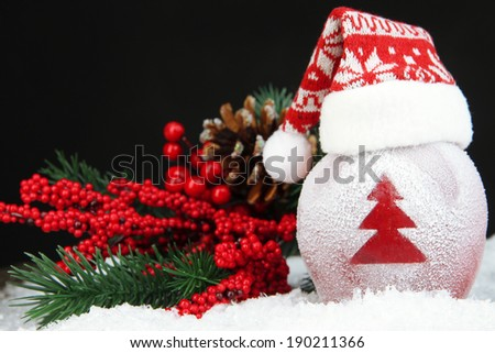 Holiday apple with frosted Christmas tree in snow on black background - stock photo