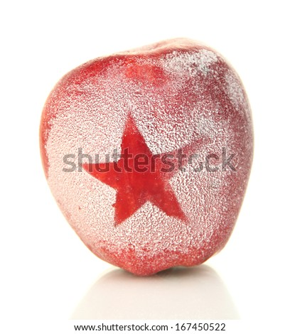 Holiday apple with frosted heart isolated on white - stock photo