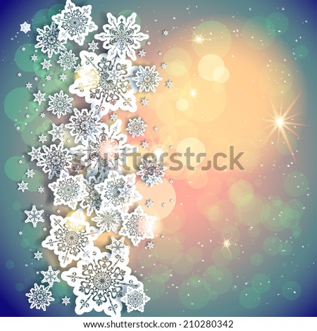 Holiday background and snowflakes and lights. Copy space. Raster version. - stock photo