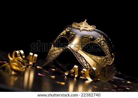 Holiday background; elegant carnival mask - stock photo