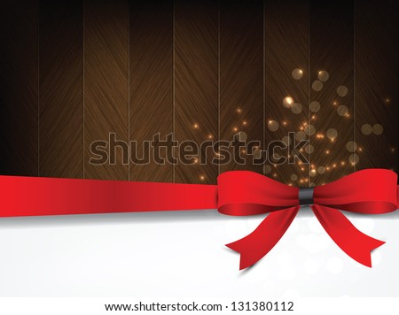 Holiday background with a red bow and brown wood. (Raster from vector) - stock photo