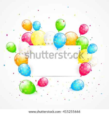Holiday background with blank card, flying colorful balloons and confetti, illustration. - stock photo