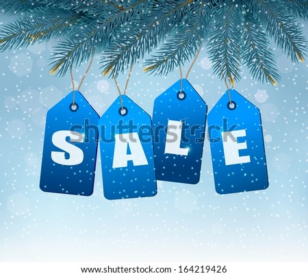 Holiday background with blue sale tags. Concept of discount shopping. Raster version - stock photo