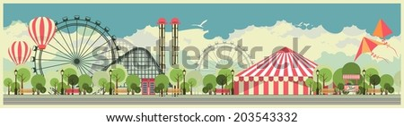 holiday background with carnival and amusement park against the sky wide screen - stock photo