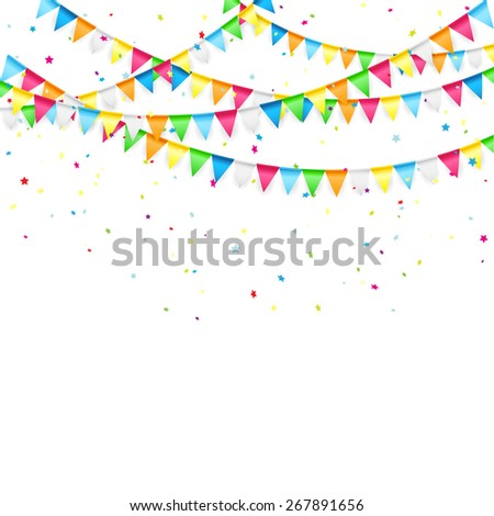 Holiday background with colored pennants and confetti, illustration. - stock photo