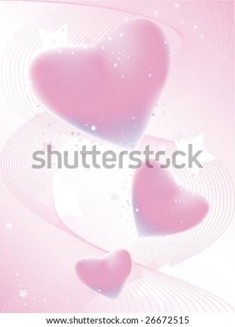 Holiday background with pink flying hearts