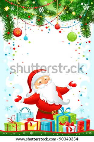 Holiday background with Santa Claus. Raster version - stock photo