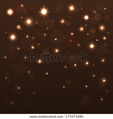 Holiday background with shiny stars in the dark sky. Starry sky. Black, brown, gold color - raster version - stock photo
