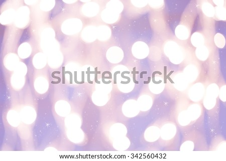 Holiday background with white blurred defocused bokeh. With smal stars. Christmas background. Horizontal. Lilac tone - stock photo