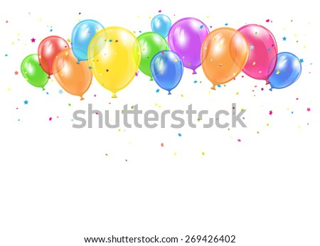 Holiday balloons and confetti flying on white background, illustration.