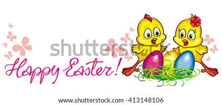 "Holiday banner with cartoon chickens, Easter eggs and ""Happy Easter"" greeting text. Raster clip art."