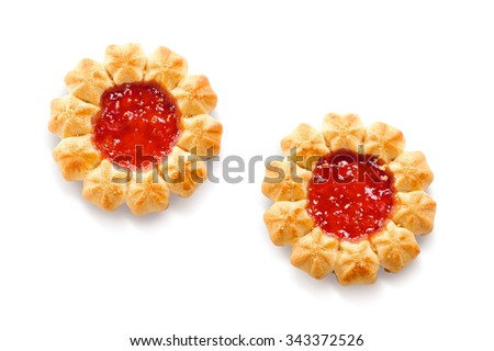 holiday berry jam cookies close-up isolated on white background  - stock photo