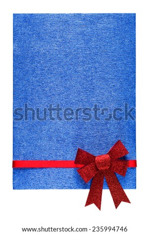 Holiday blue background with red ribbon and bow - stock photo