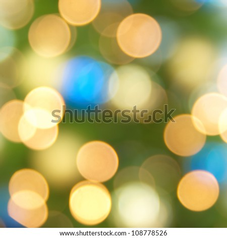Holiday blue, yellow and green lights- christmas soft background - stock photo