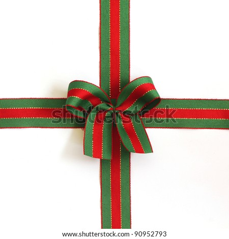 holiday bow on white background - stock photo
