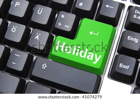 holiday button showing travel or vacation concept