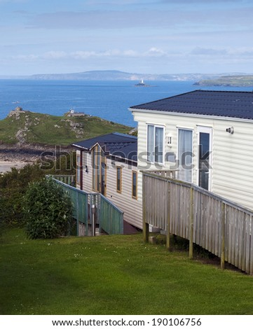 Holiday caravan park on a coast with sea view, St. Ives, Cornwall, England, UK. - stock photo