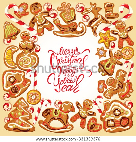 Holiday card. Border with xmas gingerbread - cookies in reindeer, star, moon, people, heart, house and fir-tree shapes. Calligraphic text Merry Christmas and Happy New Year. Raster version  - stock photo