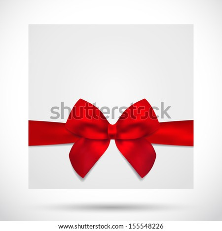 Holiday card, Christmas card, Birthday card, Gift card (greeting card) template with big lush red bow (ribbons, present). Holiday (celebration) background design for invitation, banner - stock photo